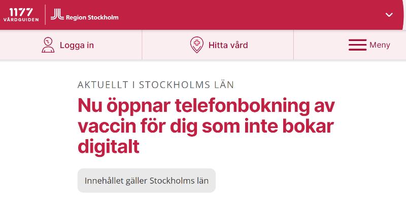 Bild från dator, röd text: nu öppnar telefonbokning av vaccin