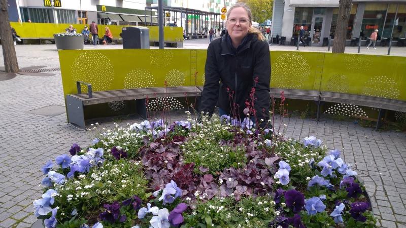 Leende blond kvinna glasögon och det blonda håret i tofs böjd över en stor urna full av blommor i olika blå och vita nyanser.