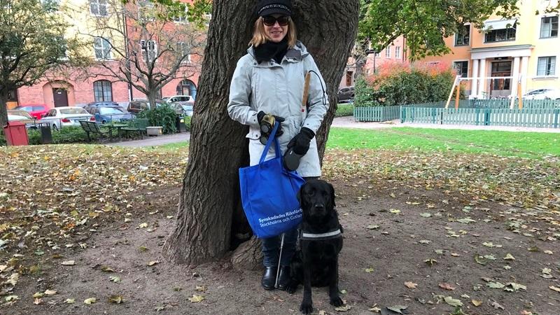 Kvinna med vit käpp står under ett stort träd, hennes svarta ledarhund bredvid. Liten park med stadshus runt om.
