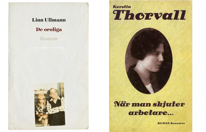 """Omslag till Linn Ullmans """"De oroliga"""", vitt med gulnat porträtt på Linn Ullman som flicka med pappa Ingmar Bergman, och Kerstin Thorvalls """"När man skjuter arbetare"""", ljusgult med ovalt sepiafärgat porträtt på mörkhårig kortklippt kvinna."""