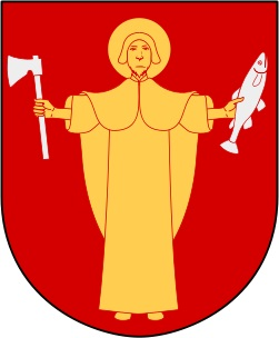 Botkyrkas symbol, röd bakgrund, en gul man med gloria som håller en yxa i ena handen och en fisk i den andra.