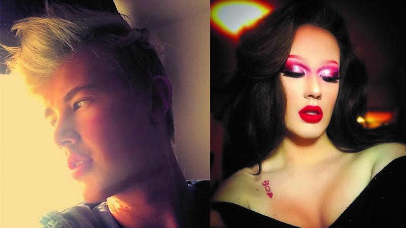 Två bilder på Joakim, dels utan smink och dels sminkad som kvinna.