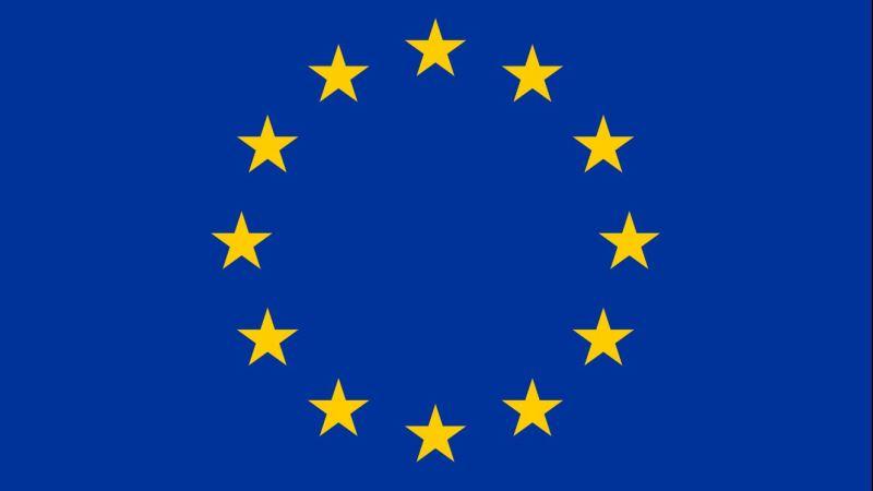 EU:s symbol, 12 gula stjärnori cirkel mot blå bakgrund.