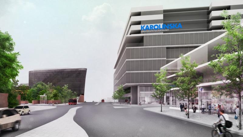 Tecknad bild av Karolinska universitetssjukhuset till höger och Aula Medica till vänster.