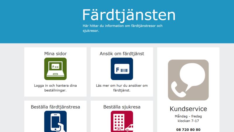 Bild på Färdtjänstens nya webbplats