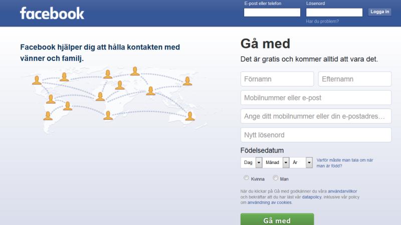 Facebooks inloggningssida