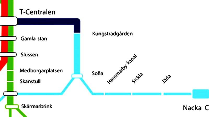 Beskuren bild av framtidens tunnelbanekarta. Den nya linjen från Kungsträdgården till Nacka Forum och Gullmarsplan är utmärkt i ljusblått.