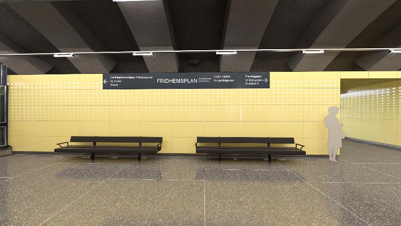 Digital arkitektskiss på den nya stationen vid Fridhemsplan.