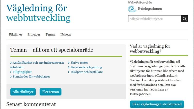 Skärmdump från webbriktlinjer.se.