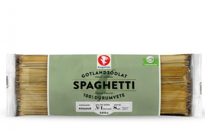Bild på ett paket pasta, där namnet Gotland är stavat på traditionellt sätt.