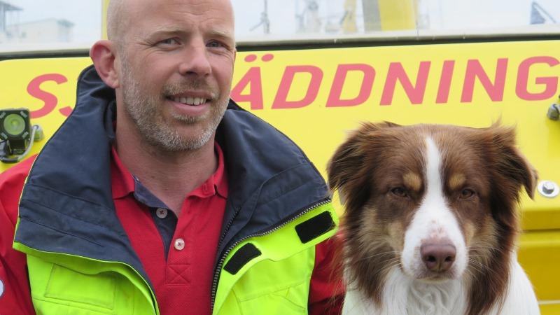 En man sitter bredvid en hund som har vita och bruna delar.
