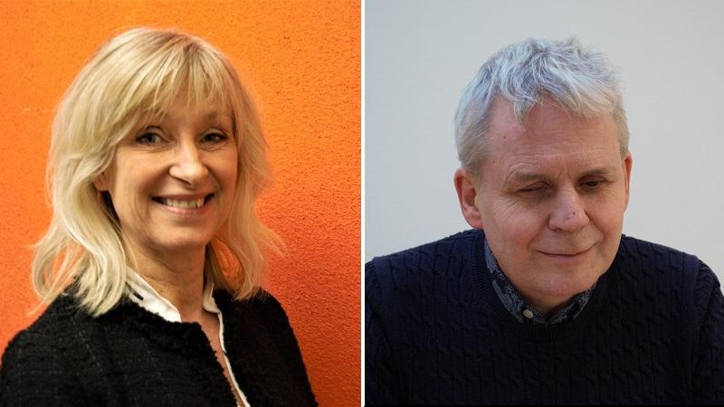 Fotomontage med två närbilder. Till vänster Karin Sandwall Åsberg framför en orange bakgrund. Hon har blont axellångt hår och en svart kofta med en vit skjorta under. Till höger Lennart Karlsson mot en vit bakgrund. Han är vithårig och bär en mörkblå stickad tröja där kragen till en blåvitmönstrad skjorta sticker upp.