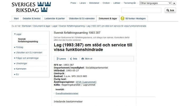 Bild från riksdagen.se med rubrik till lagtext om LSS