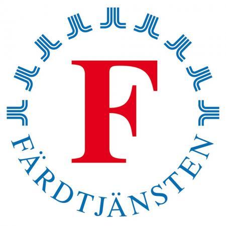 Färdtjänstens logotyp med ett rött versalt F med texten FÄRDTJÄNSTEN i halvcirkel under och landstingets logotyp på rad som formar en övre halvcirkel.