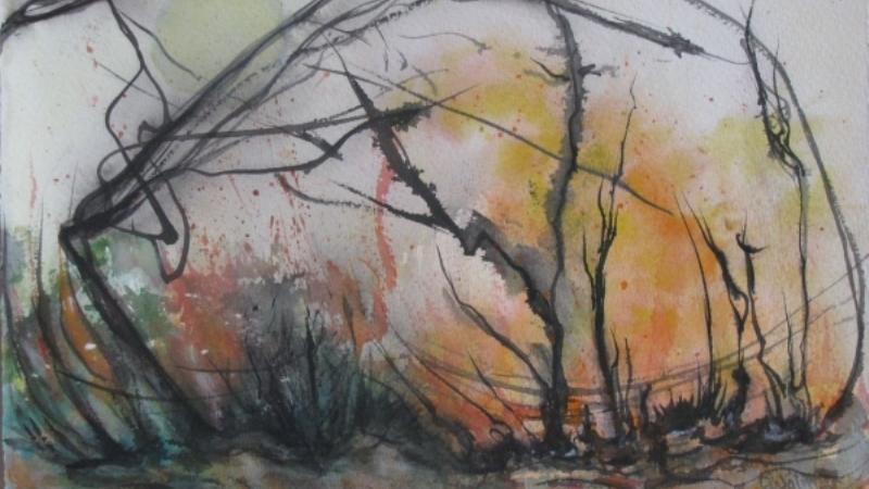 En målning av ett abstrakt kargt landskap. Svarta spretiga strån och glesa buskar i förgrunden. Ljusgrå bakgrund med inslag av orange, kanske är det solljus? Växterna böjer sig i vinden