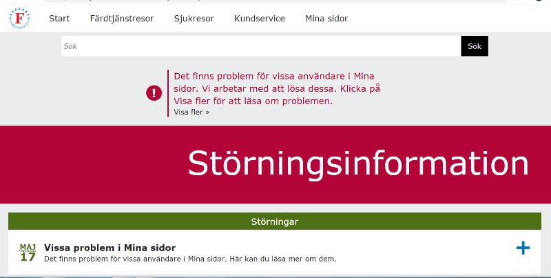"""Bild av Mina sidor på färdtjänstwebben. I ett brett rött fält mitt på sidan står """"Störningsinfomation"""" med vita bokstäver."""