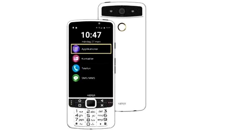 Den smarta telefon som beskrivs i inslaget, med stor skärm och liten knappyta längst ner.