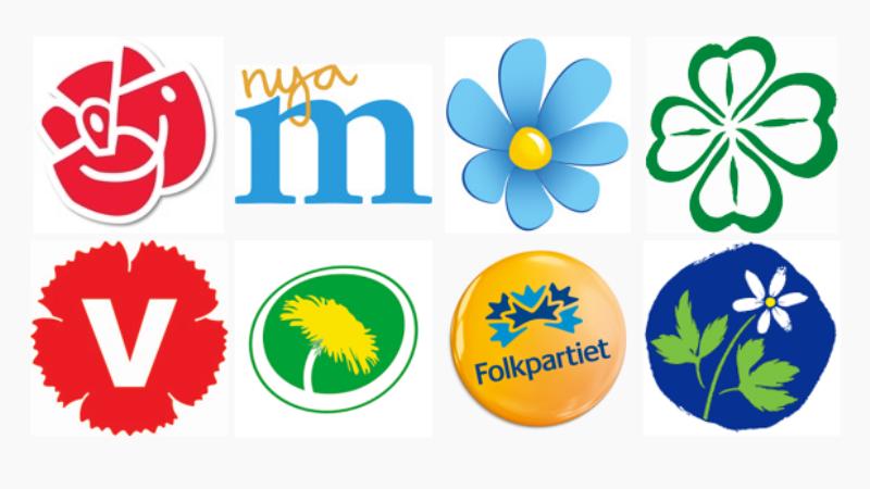 Bild på riksdagspartiernas logotyper