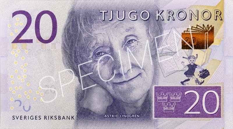 Bild på nya 20-kronorssedels med bild på Astrik Lindgren.