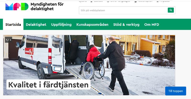Skärmklipp från MFD:s webbplats med en bild på en person i rullstol som hjälps in i en buss och texten Kvalitet i Färdtjänsten.
