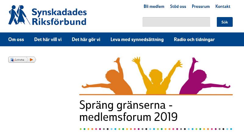 Bild från SRFs webbplats med texten Spräng gränserna Medlemsforum 2019 och en bild med färgglada siluetter av tre personer som sträcker armarna uppåt utåt.