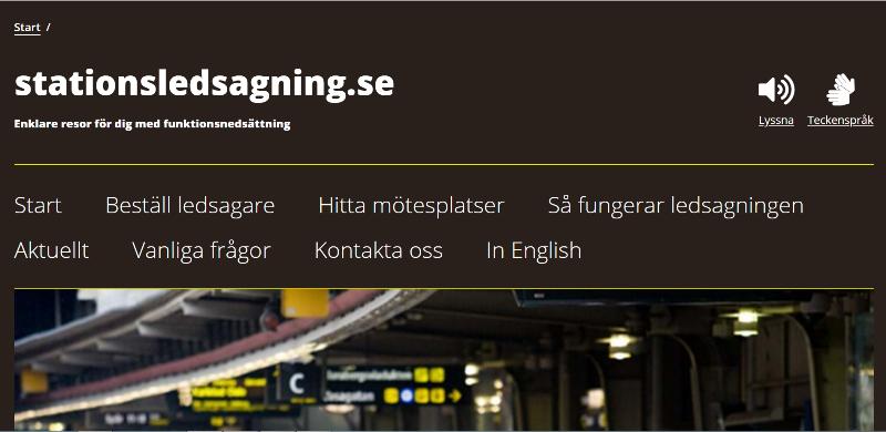 En skärmdump från hemsidan till stationsledsagning.se med text.