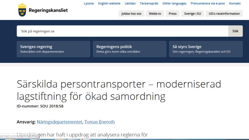 """Skärmklipp från regeringens hemsida med rubriken """"Särskilda persontransporter - moderniserad lagstiftning för ökad samordning"""" i centrum"""