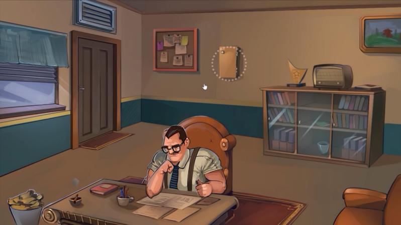 En skärmdump från spelet. Chefen sitter i sitt kontorsrum och skriver på ett papper.