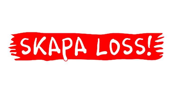 Logga med texten skapa loss mot flaggliknande röd bakgrund.