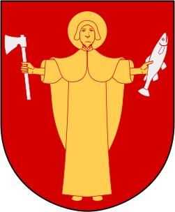 Vapen med gul mänsklig figur på röd botten, med yxa i ena handen och fisk i den andra.