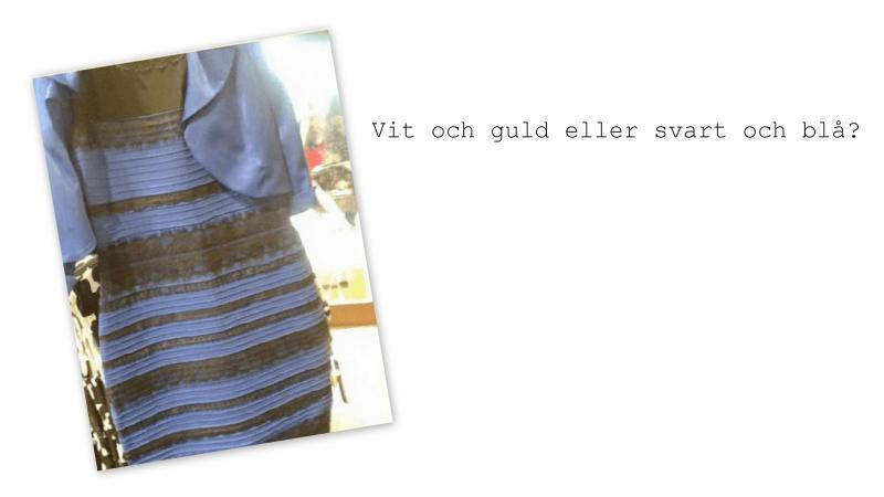 Vit och guld eller svart och blå? Klänningen är randig i ett alternativ av dessa färger.