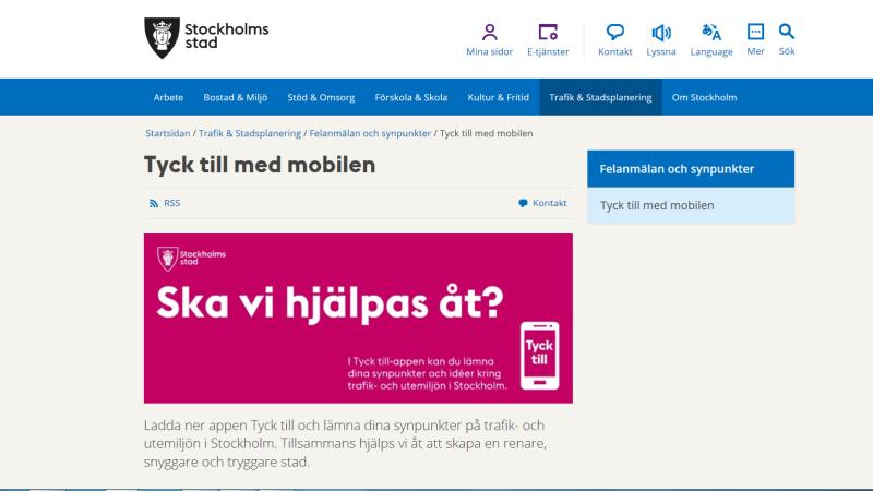 Bild från Stockholms stads webbsida med texten Tyck till i mobilen och Ska vi hjälpas åt?