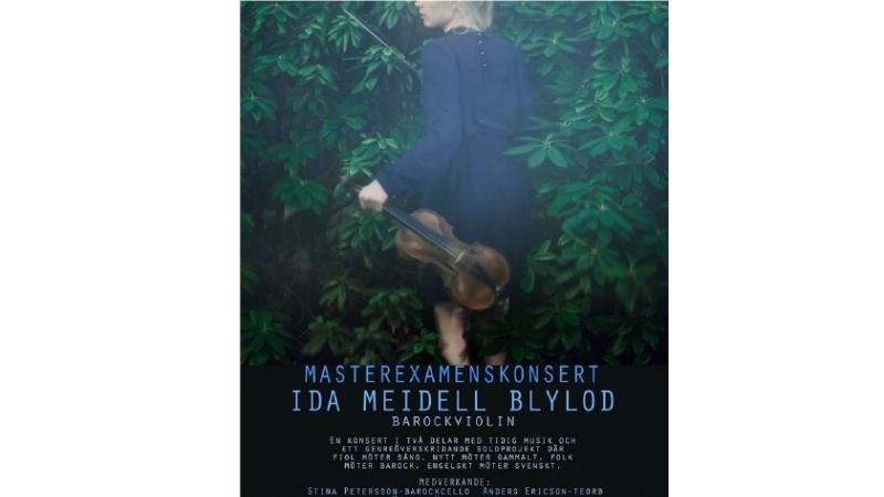 Affisch, kvinna med fiol i blå klänning omgiven av grönska.