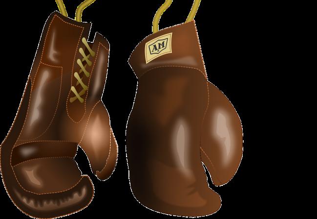 Två bruna boxningshandskar mot vit bakgrund