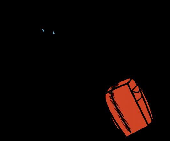 En teckand mansfigur i keps med svettdroppar i pannan och ansträngd grimas kämpar för att dra en resväska med handtag.
