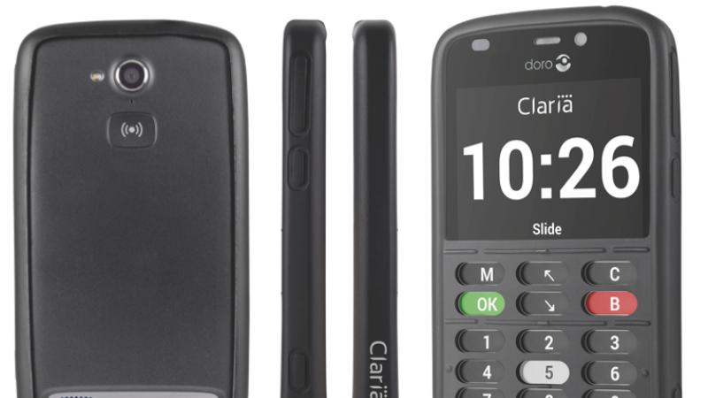 Svart mobiltelefon med nedsänkta knappar och stor text i displayen.