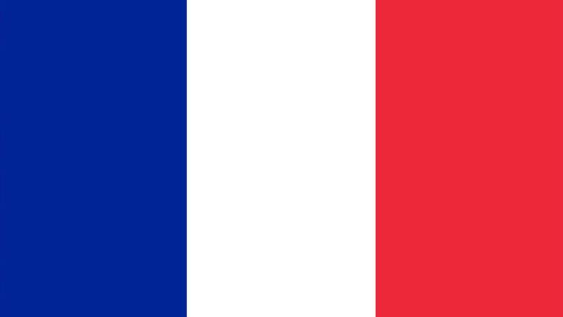 Frankrikes flagga med tre vertikal färgfält, blått, vitt och rött.