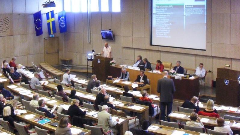 Bild från fullmäktiges sammanträde i landstingssalen.