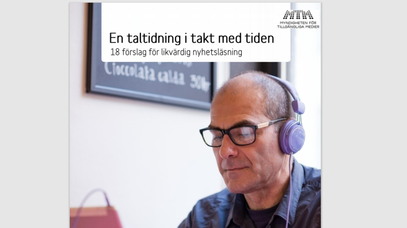 Man med glasögon och hörlurar. MTM logotype i hörnet. Foto: Elliot Elliot