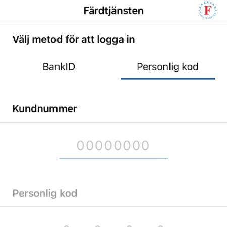 Skärmbild app Färdtjänsten. Textanvisningar för inloggning.