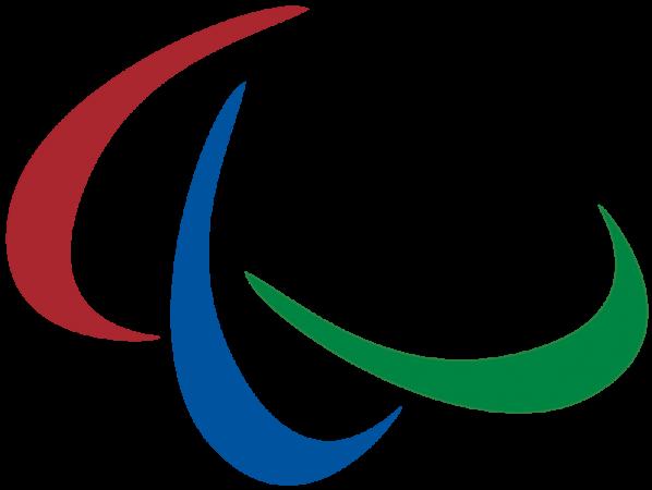 Paralympicssymbolen med tre s.k. agitos, bågformade symboler, intill varandra. En röd, en blå och en grön.