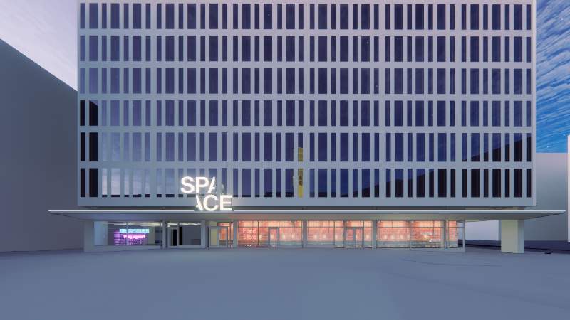 Grafisk bild av höghus med många fönster, upplyst bottenvåning