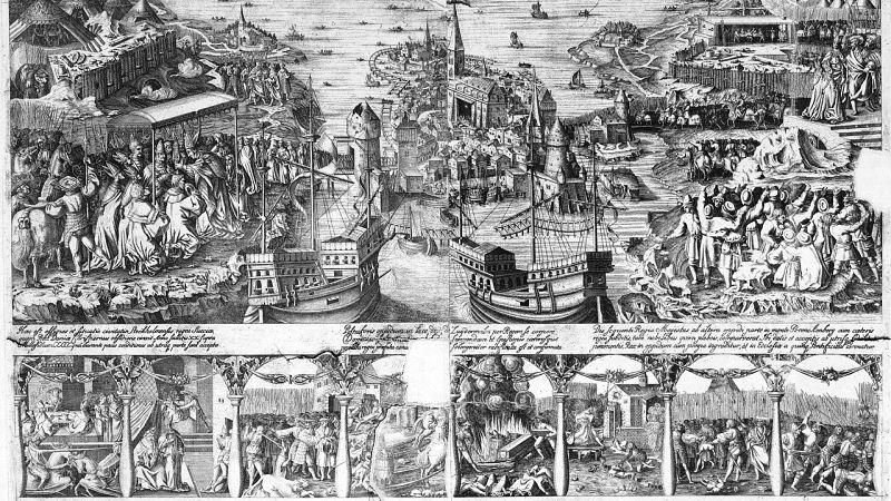 Svartvit gammal teckning av Stockholms Blodbad