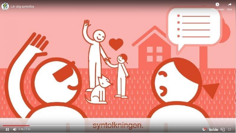 En tecknad bild som är ett utdrag från syntolkningskursen på Youtube. I olika nyanser av rött och rosa är en situation tecknad där en syntolkning pågår i förgrunden. Till vänster en person som bär mörka glasögon och till höger en person som syntolkar. Framför dem står en vuxen person, en hund och ett barn med keps. Personen till vänster och den vuxna med hund vinkar till varandra. Mellan den vuxna och barnet finns ett rött hjärta.