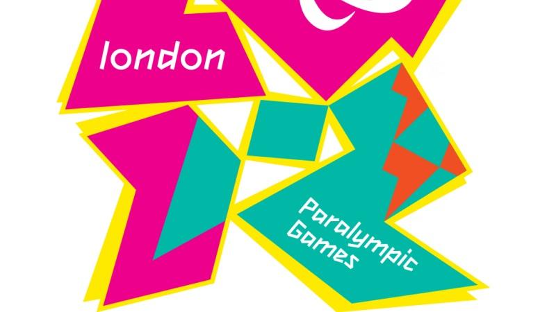 Logga för paralympics i London. Rektanglar och trianglar i rosa och grönt ovanpå varandra.