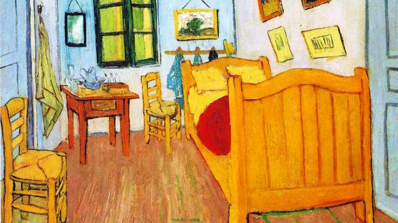 Färgsprakande målning av sovrum.