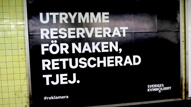 """Reklamtavla med texten """"Utrymme reserverat för naken retuscherad tjej"""""""