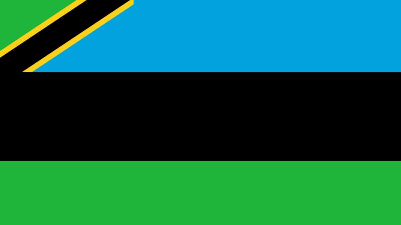 Tanzanias flagga är blå och grön med ett diagonalt svart fält, där det svarta fältet omges av skiljeränder i gult.
